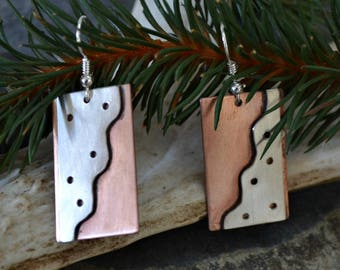 Copper and sterling earrings.  handmade.  Downside Up.