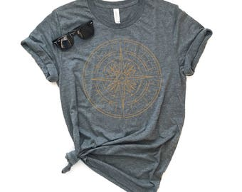Gold Compass Unisex Fit Tee - Heather T-shirt - Nature Tee - Graphic Tee -  Adventure Tee
