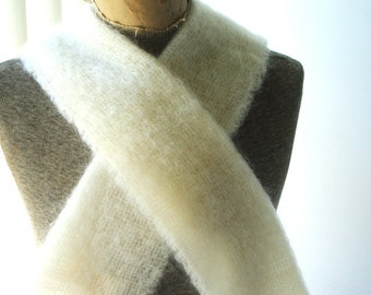 Winter fashion vintage 60s white mohair and wool, unisex, long scarf. Made in Scotland by Heather -Glen.