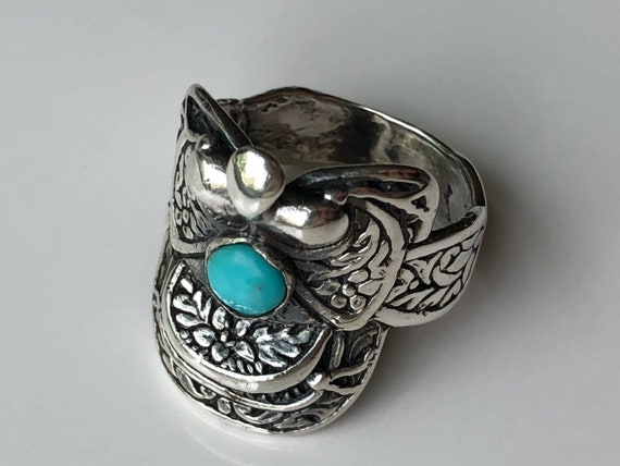 Sterling Silver Western Saddle Ring with Turquoise 925 Size 7.5 (9.0 grams)