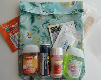 Sage Floral Ouch Pouch Travel Bag Large 6x8 Clear Front First Aid Organizer Purse Car Diaper Baby Shower Favor Mother's Day Gift
