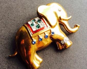 ELEPHANT BROOCH PIN vintage rhinestone paste enamel