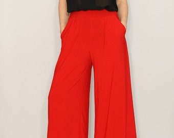 SALE Red wide leg high waist pants with pockets Women trousers