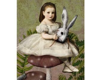 Alice in Wonderland Print Digital Art White Rabbit Mask Green Grey Pink Surreal Home Decor Lewis Carroll