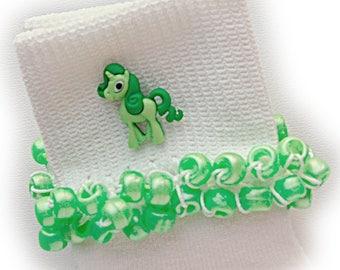 Kathy's Beaded Socks - (Last One) - Green Pony Parade Socks and Hair Bow, pearl socks, green socks, school socks, pony socks