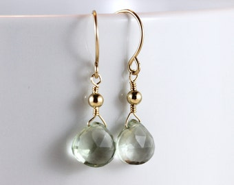 Green Amethyst Faceted Heart Briolette Gold Filled Earrings - Nadia