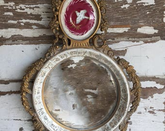 Vintage Convex Mirror Cameo Creations Mosaic Frame - Hollywood Regency