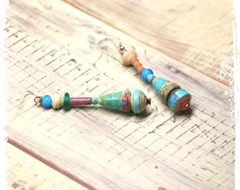 Turquoise paper bead earrings, Tribal earrings, Paper jewelry, Bohemian earrings for her, Stacked bead earrings, Gypsy earrings,