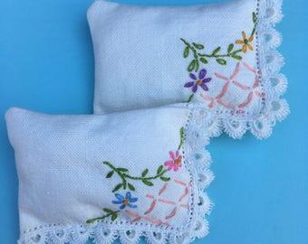 Lavender Sachet Vintage Embroidered Linen