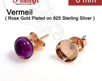 10pcs x Round 6mm Bezel Earring Cups Rose Gold Plated on 925 Sterling Silver (6106SHRP)
