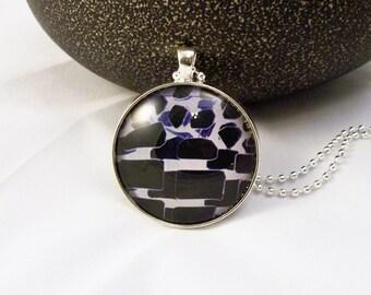 Blue Black White Graphic  Round Glass Pendant Necklace