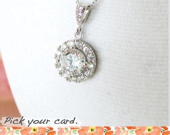 Heather -  Luxe Cubic Zirconia Round Drop necklace, Halo style crystal necklace, Silver bridesmaid necklace, brides wedding jewelry
