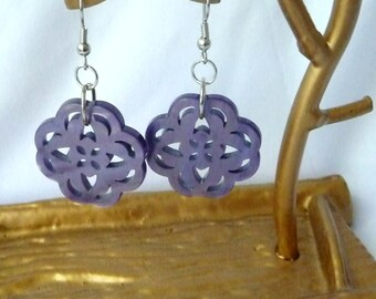 RICHARME Thai Button Earrings in Purple Orchid
