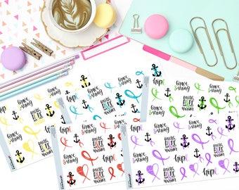 AWARENESS RIBBON LOVE Paper Planner Stickers