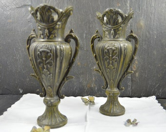 antique french regule set of 2 vases with 2 handles eyelet  ornament flowers art nouveau 1930