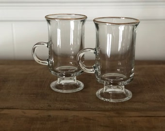 Irish Coffee Mugs, Set of 2, Gold Rim Glass; Small Clear Pair of Mugs; St. Patrick's Day; Vintage Coffee or Tea Cup