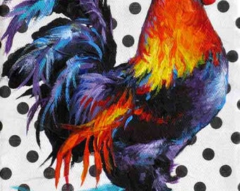 ACEO Rooster Print, From Rooster Painting, Colorful Rooster Art Print, Collectable Chicken Art by Jemmas Gems