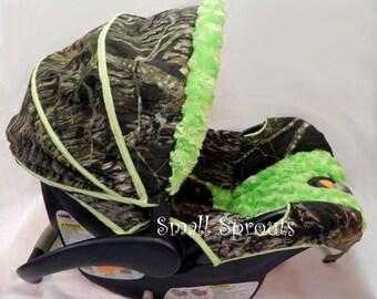Mossy Oak Breakup Lime Green Minky Swirl Infant Car Seat Cover 5 piece set