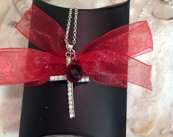 Sterling Silver Garnet CZ Cross Necklace