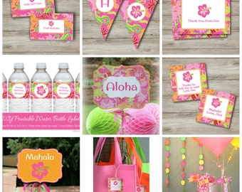 Luau Party Kit with Editable Text, DIY Pink Luau Pool Party Kit, Printable Luau Party with Editable Text, DIY Hawaiian Luau Party Printables