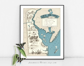 DELAWARE MAP PRINT - size & color choices - personalize it - vintage pictorial map print - perfect gift idea for many occasions - wall art