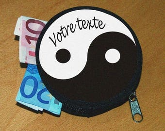 Wallet yin and yang personalized name or text