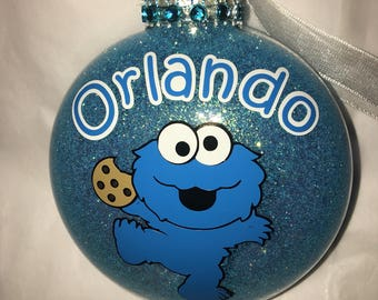 Personalized Baby Cookie Monster Christmas Ornament