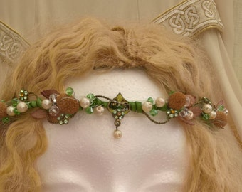beautiful pearl drop headdress, pagan, woodland headband, grecian