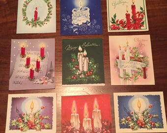 Lot of 9 Vintage Christmas Cards featuring Candles (used)