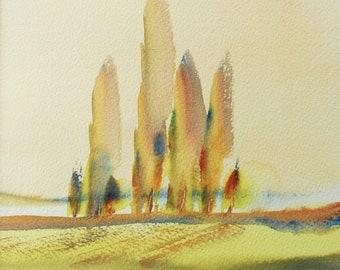 POPLARS WORCESTERSHIRE FIELDS 2017. Original watercolour landscape painting.