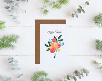 Happy Easter Greeting Card, Easter Card, Floral Greeting Card