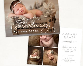 Birth Announcement Template for Photographers - 7x5 Photo Card - Sweet Baby 28 - ID237, Instant Download