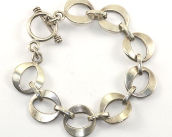Vintage Oval Shape Links Modern Toggle Bracelet 925 Sterling BR 447