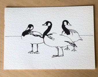 Vintage Susan Winget pen and ink Canadian Geese Print
