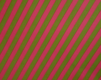 Vintage Gift Wrapping Paper 1970s All Occasion & Birthday Gift Neon Pink and Lime Stripe 1 Sheet