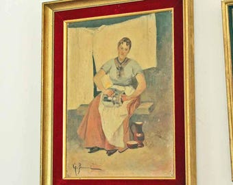 Antique French oil painting by G. Bonneval / beautiful frenich Impressionism oil painting  woman Portrait Signed art
