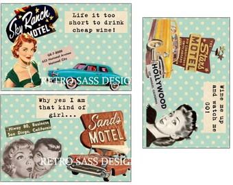 rEtRo road trip inspired SASSY notecards 50's style  4x6 set of THREE