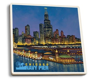 Chicago, IL Navy Pier and Sears Tower - LP Artwork (Set of 4 Ceramic Coasters)