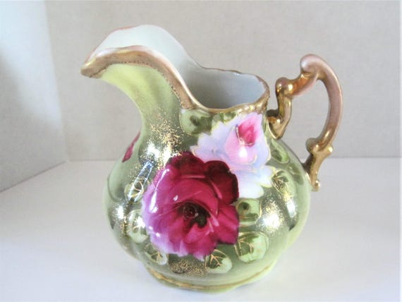 China Floral Pitcher,  Cream Pitcher,  Tea Party, Roses Adorned,  Unsigned Ceramic Pitcher