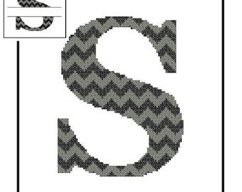 Chevron Monogram S Cross Stitch Pattern S Initial S Letter cross stitch Wedding Gift split letter cross Wedding Record Anniversary