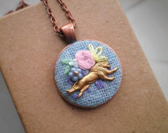Floral Embroidery Necklace - Lion & Pink Flower Embroidered Necklace - Hand Stitched Flowers + Lion Animal Jewelry Gift - Bohemian Fiber Art
