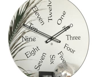 Roco Verre Mirror Written Numbers Wall Clock