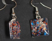 Royal blue and orange glitter, square glass cab earrings, hand-painted earrings, glitter nail polish jewelry