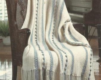 Crochet   Afghan  Fascination with fringe  throw blanket bed cover lap blanket vintage pattern instant download pdf