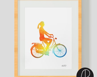 Cycling art print. Bike illustration