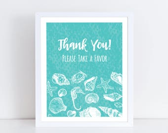 Turquoise Beach Bridal Shower Favors Sign Bundle, Bridal Shower Signs, Beach Bridal Shower, Bridal Shower Decorations, Take a Favor Sign