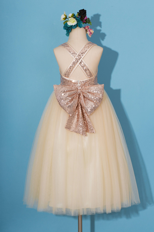 Rose gold sequins dress/pageant dress/ rose gold flower girl