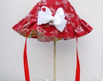 Reversible Girls Sunhat Red Butterfly Print