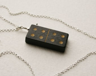 4 4 Domino Charm Necklace Sterling Silver Vintage Wooden Domino