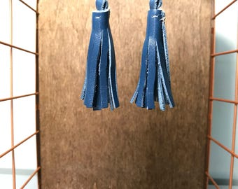 Leather Tassel Earrings - Royal